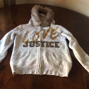 Girls zipper up fur hoodie